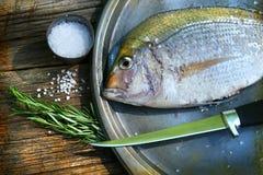 fångat uppläggningsfat för matlagningfisk nytt Arkivbild