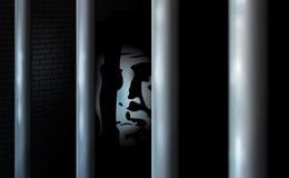 Fånge och fängelsecell Bara i arrest bak stänger Grova förbrytelsen begick brotts- eller bankrutt Brottslig serve för affär deras stock illustrationer