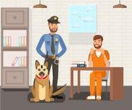 Fånge och polis Flat Illustration vektor illustrationer