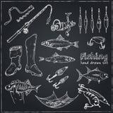 Fångstredskaphjälpmedel skissar Hand-teckning fiskeutrustning Arkivfoto