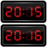 får den digitala siffrapåfyllningen för klockan bara onödigt övre för ljusdiod rakt till Digital Uhr Nummer Royaltyfria Bilder