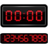 får den digitala siffrapåfyllningen för klockan bara onödigt övre för ljusdiod rakt till Digital Uhr Nummer Arkivfoto