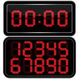 får den digitala siffrapåfyllningen för klockan bara onödigt övre för ljusdiod rakt till Digital Uhr Nummer Fotografering för Bildbyråer