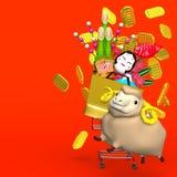 Får nytt års prydnader, shoppingvagn på rött Royaltyfri Bild