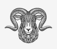 Får, RAM eller bergsfår Djur som dekoreras med etniska modeller också vektor för coreldrawillustration stock illustrationer