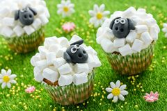 Fårmuffin, lammmuffin, förtjusande påskmuffin som dekoreras med den vita marshmallowen, och svart fondant arkivfoton