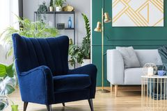 Fåtölj bredvid den gråa scandinavian soffan i tropisk inspirerad inre med gröna och guld- färger royaltyfria bilder