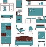 Fåtölj för garderob för säng för möblemangsoffastol Arkivbilder