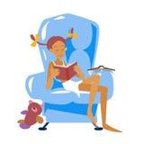 Fåtölj och flicka med boken i plan stil också vektor för coreldrawillustration Royaltyfri Foto