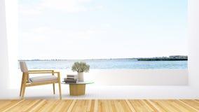 Fåtölj på terrass- och sjösikt i hotellet - tolkning 3D Royaltyfria Foton