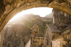 fåtöljer Kloster Geghard Royaltyfri Foto