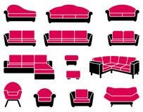 Fåtöljer och sofas royaltyfri illustrationer