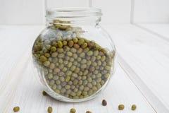 Fèves de mung poussées dans un pot en verre Photographie stock libre de droits