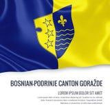 Fédération de canton bosnien-Podrinje GoraÅ ¾ de flag d'état de la Bosnie-Herzégovine Images stock