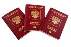 Fédération de Russie de trois passeports Photographie stock