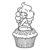 Fée crème de petit gâteau Fille mignonne sur le petit gâteau Objets d'isolement sur le fond blanc Illustration de vecteur Contour illustration stock