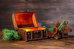 Fée d'hiver de Noël avec le miracle dans le coffre ouvert beau b Images stock