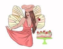 fée de dent avec un gâteau de fraise gâteau et carie illustration stock