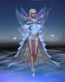 Fée de glace avec le fond de nuit de l'hiver Photo stock