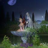 Fée de jardin - nuit Photo libre de droits