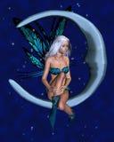 Fée de lune avec le fond étoilé - 1 Photos libres de droits