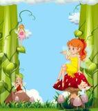 Fées mignonnes dans le jardin de champignon illustration libre de droits