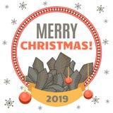 Félicitation les vacances dans un cadre décoratif rond avec des branches, des boules et le ruban d'arbre de nouvelle année Photo stock