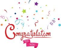 Félicitations à vous avec des confettis illustration stock