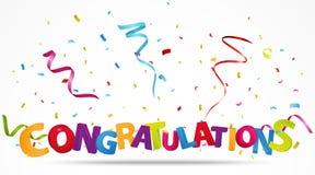 Félicitations avec des confettis Images stock