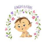 Félicitations avec le bébé garçon illustration stock