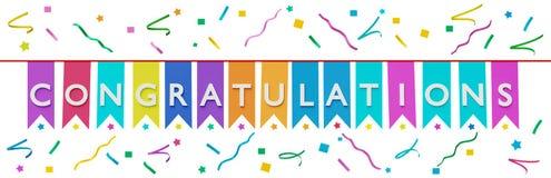 Félicitations dans le drapeau d'étamine et le rendu des confettis 3d Photo libre de droits