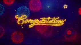Félicitations saluant des particules d'étincelle des textes sur les feux d'artifice colorés illustration libre de droits