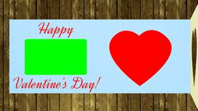 Félicite le jour de valentines Carte de voeux ouverte et jour de valentines heureux de souhait Célébrez le battement de coeur rou illustration stock