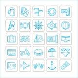 Férias - ajuste dos ícones Gráficos de vetor cor da Azul-prata ilustração do vetor