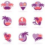 Férias da coleção dos ícones do curso Fotografia de Stock Royalty Free