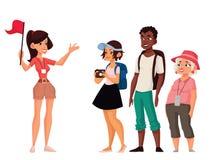 Férias da excursão com guia ilustração royalty free