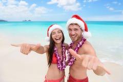 Férias de Havaí do Natal - par havaiano da praia Imagens de Stock Royalty Free