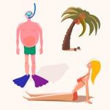 Férias de verão ajustadas: menina do biquini, mergulhador do homem e palmeira Vetor ilustração stock