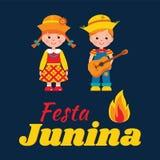 Férias de verão brasileiras de Festa Junina ilustração stock
