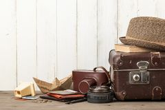 Férias de verão e fundo retro do estilo do curso fotografia de stock royalty free