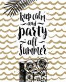 Férias de verão e ilustração tirada mão das férias Imagem de Stock
