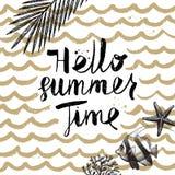 Férias de verão e ilustração tirada mão das férias Fotos de Stock