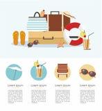 Férias de verão e turismo Infographic Acessórios da praia Imagem de Stock Royalty Free