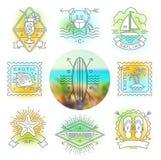 Férias de verão, emblemas das férias e do curso, sinais e etiquetas Imagem de Stock