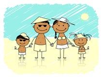 Férias de verão. Família feliz na praia ilustração do vetor