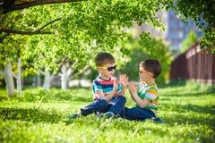 Férias de verão felizes Duas crianças felizes em um gramado verde em um s Imagens de Stock
