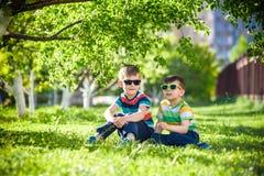 Férias de verão felizes Duas crianças felizes em um gramado verde em um s Fotos de Stock Royalty Free