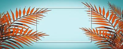 Férias de verão felizes Quadro o fundo tropical com palmeiras ilustração royalty free