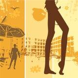 Férias de verão, mulher bonita ilustração royalty free