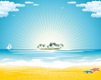 Férias de verão na praia do paraíso ilustração royalty free